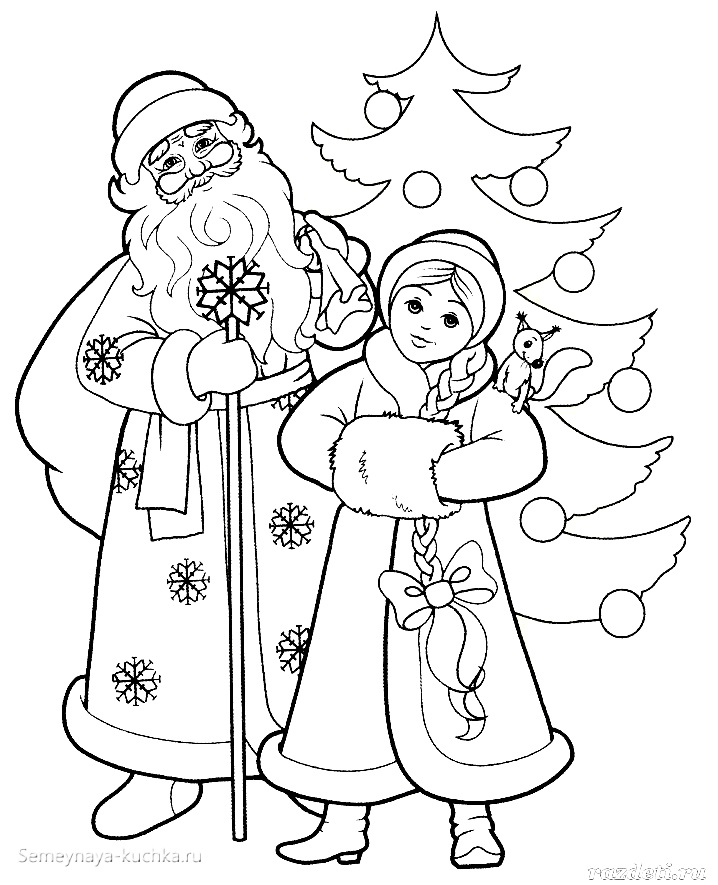 Дед Мороз и Снегурочка красивые рисунки (26)