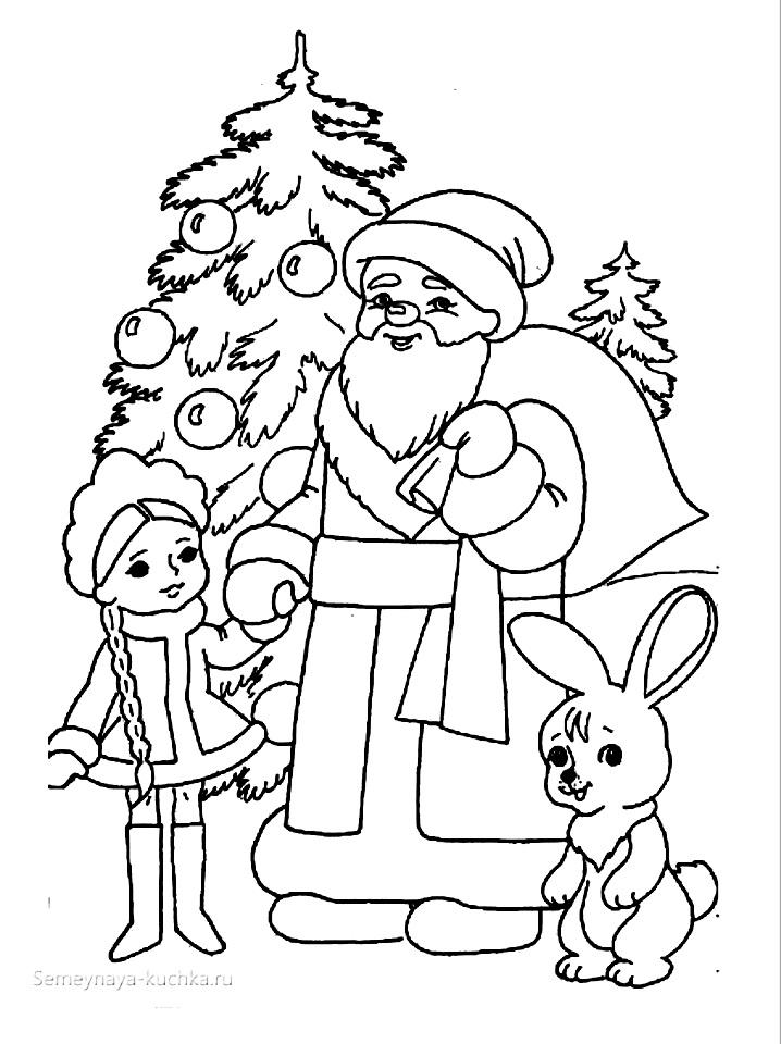 Дед Мороз и Снегурочка красивые рисунки (27)