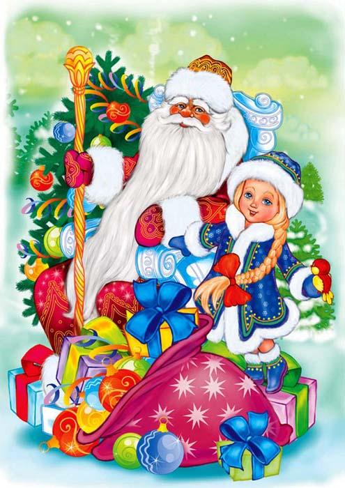 Дед Мороз и Снегурочка красивые рисунки (29)