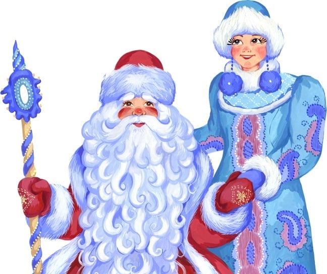 Дед Мороз и Снегурочка красивые рисунки (4)