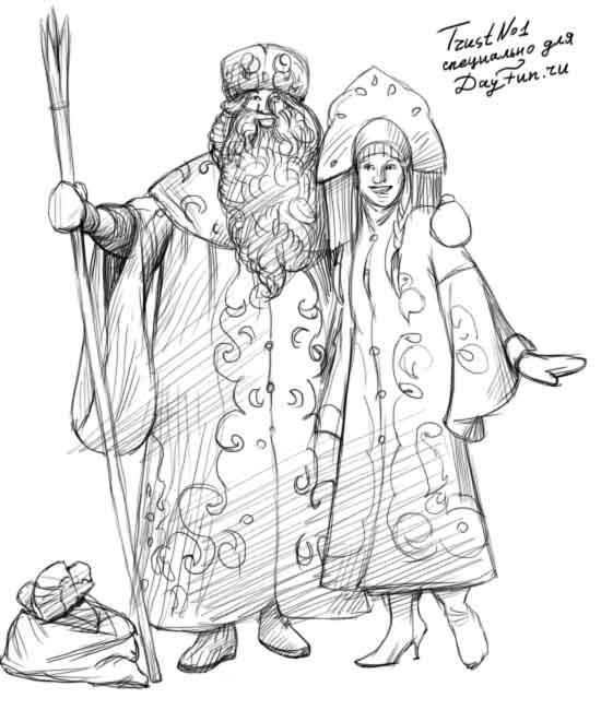 Дед Мороз и Снегурочка красивые рисунки (7)