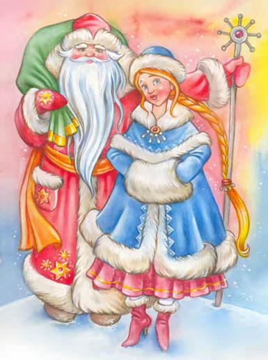 Дед Мороз и Снегурочка красивые рисунки (9)
