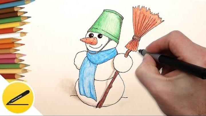 Красивые и милые рисунки снеговиков (13)