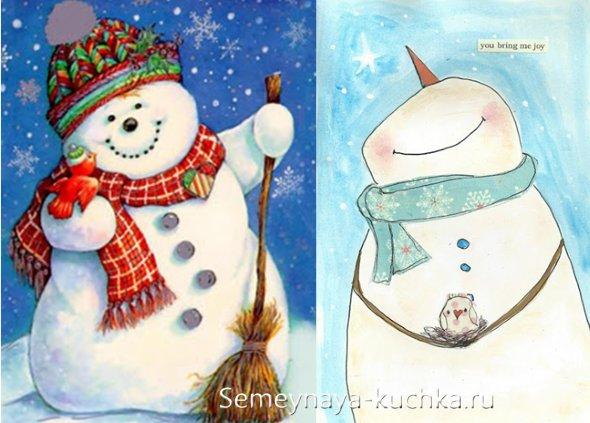 Красивые и милые рисунки снеговиков (3)