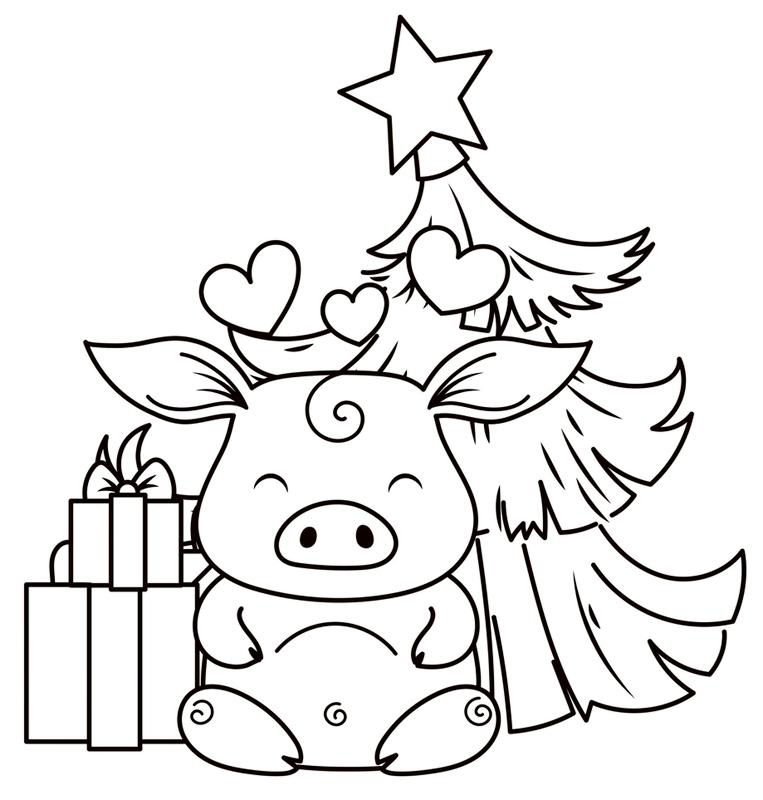 Красивые картинки про Новый год крысы 2020 для срисовки (1)