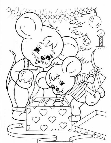 Красивые картинки про Новый год крысы 2020 для срисовки (18)