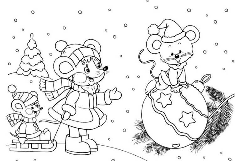 Красивые картинки про Новый год крысы 2020 для срисовки (26)