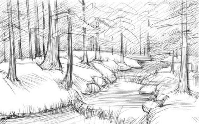 Красивые рисунки зимы для детей карандашом (12)