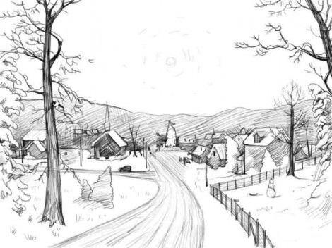 Красивые рисунки зимы для детей карандашом (17)