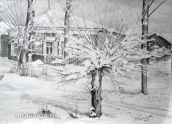 Красивые рисунки зимы для детей карандашом (19)