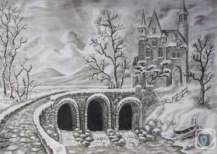 Красивые рисунки зимы для детей карандашом (21)