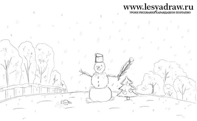 Красивые рисунки зимы для детей карандашом (24)