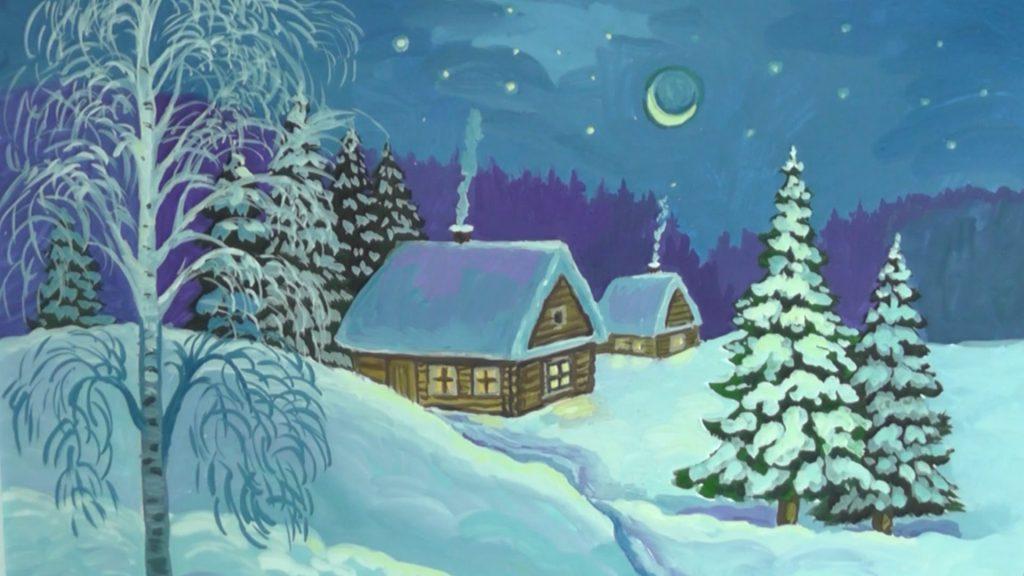 Красивые рисунки зимы для детей карандашом (25)