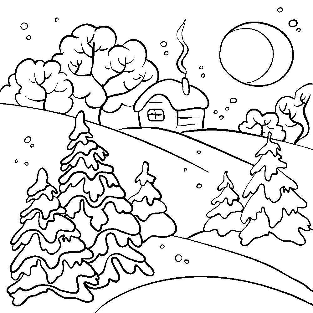 Зима в лесу рисунок карандашом