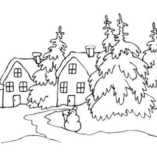 Красивые рисунки зимы для детей карандашом (28)