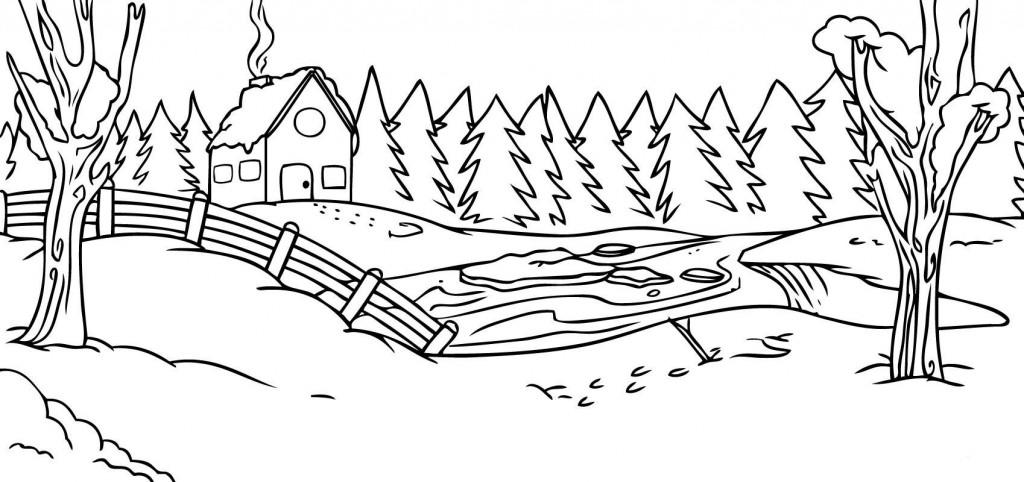 Красивые рисунки зимы для детей карандашом (5)