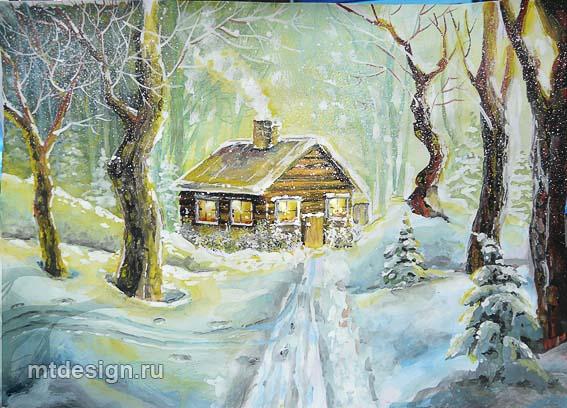 Красивые рисунки зимы для детей карандашом (8)