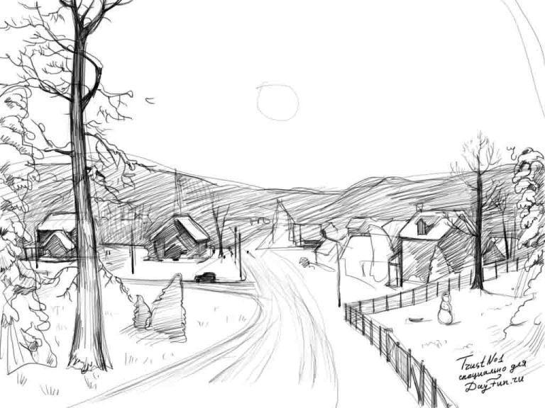 Красивые рисунки зимы для детей карандашом (9)
