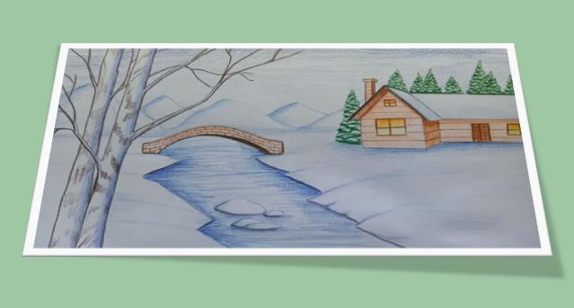 Красивый рисунок на тему встреча зимы (1)