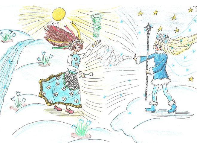 Красивый рисунок на тему встреча зимы (10)