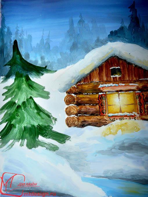 Красивый рисунок на тему встреча зимы (11)