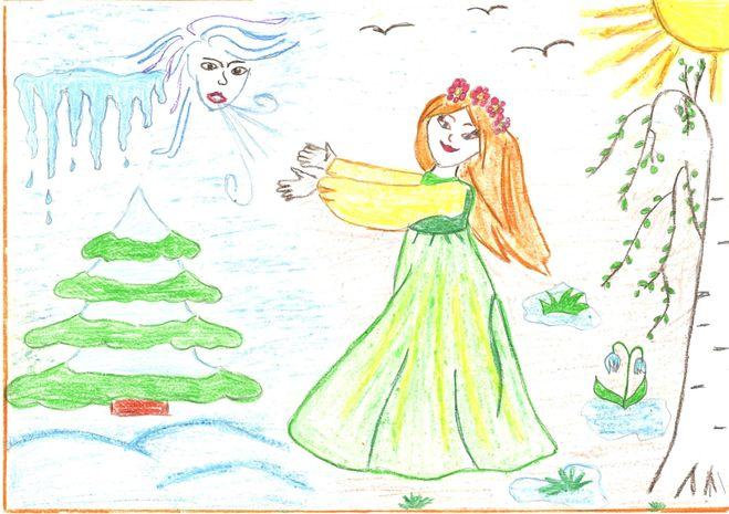 Красивый рисунок на тему встреча зимы (14)