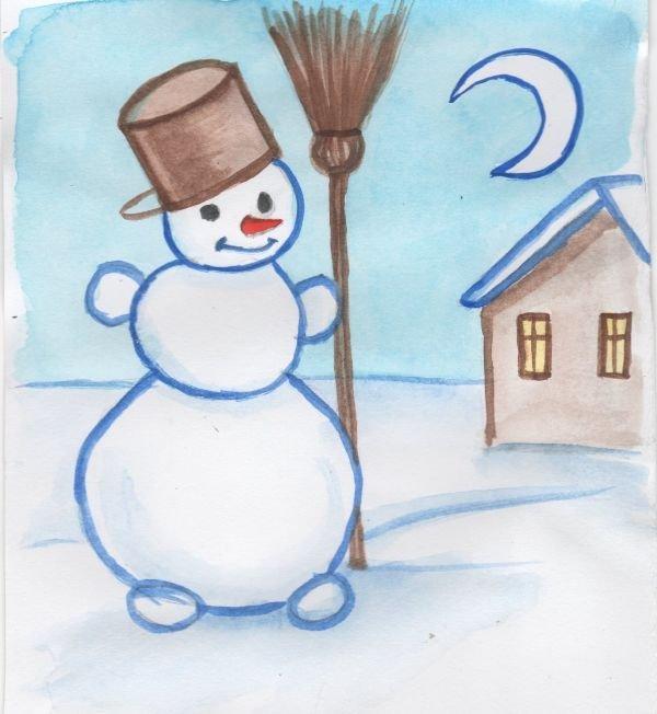 Красивый рисунок на тему встреча зимы (17)