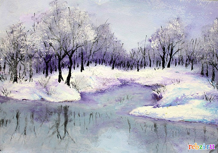 Красивый рисунок на тему встреча зимы (2)