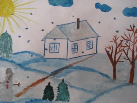 Красивый рисунок на тему встреча зимы (20)