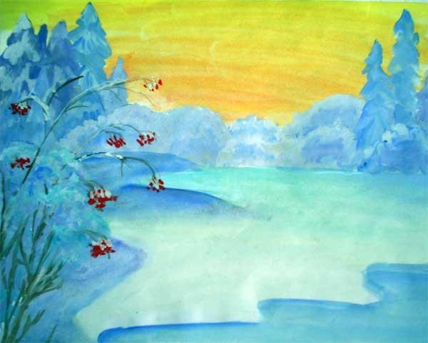 Красивый рисунок на тему встреча зимы (22)