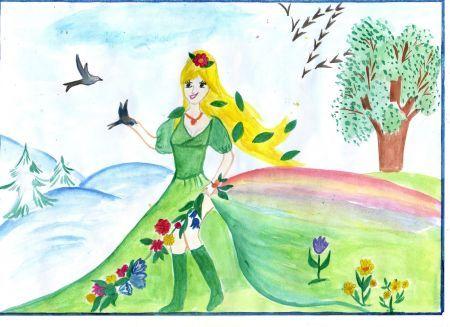 Красивый рисунок на тему встреча зимы (23)