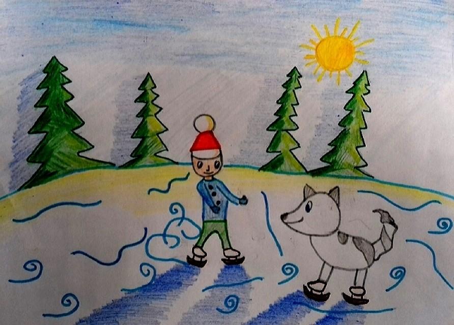 Красивый рисунок на тему встреча зимы (3)