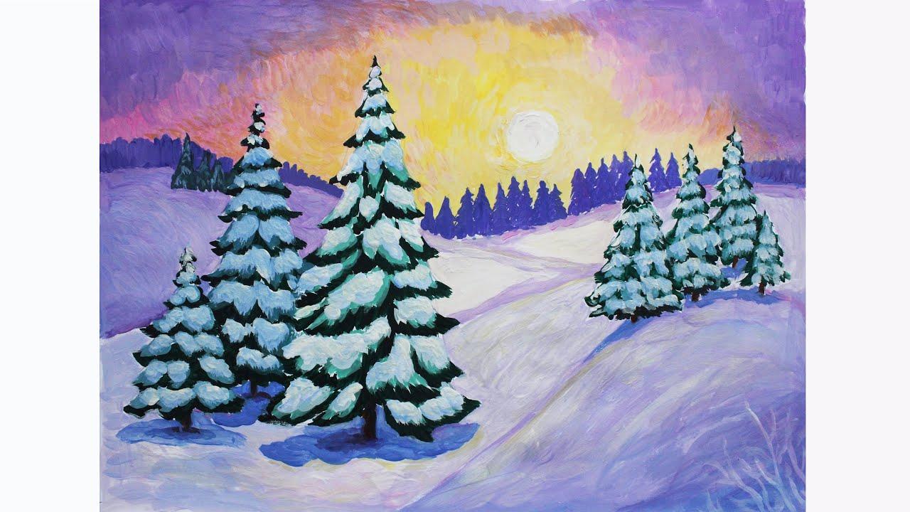 Красивый рисунок на тему встреча зимы (4)