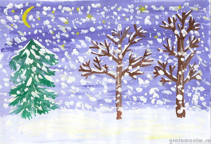 Красивый рисунок на тему встреча зимы (6)
