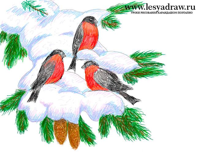 Красивый рисунок на тему встреча зимы (7)
