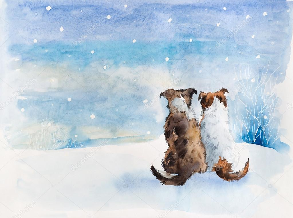 Красивый рисунок на тему встреча зимы (8)