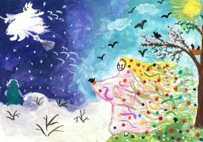 Красивый рисунок на тему встреча зимы (9)