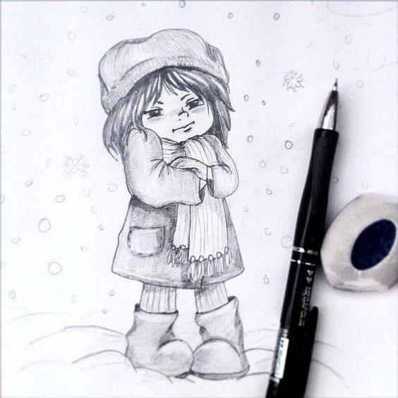 Рисунки зимы для детей 3 класса (12)