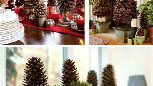 Украшение дома к новому году   декор с шишками (1)