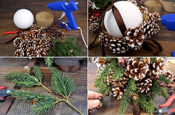 Украшение дома к новому году   декор с шишками (3)