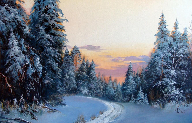Зимний лес красивые обои для рабочего стола (11)