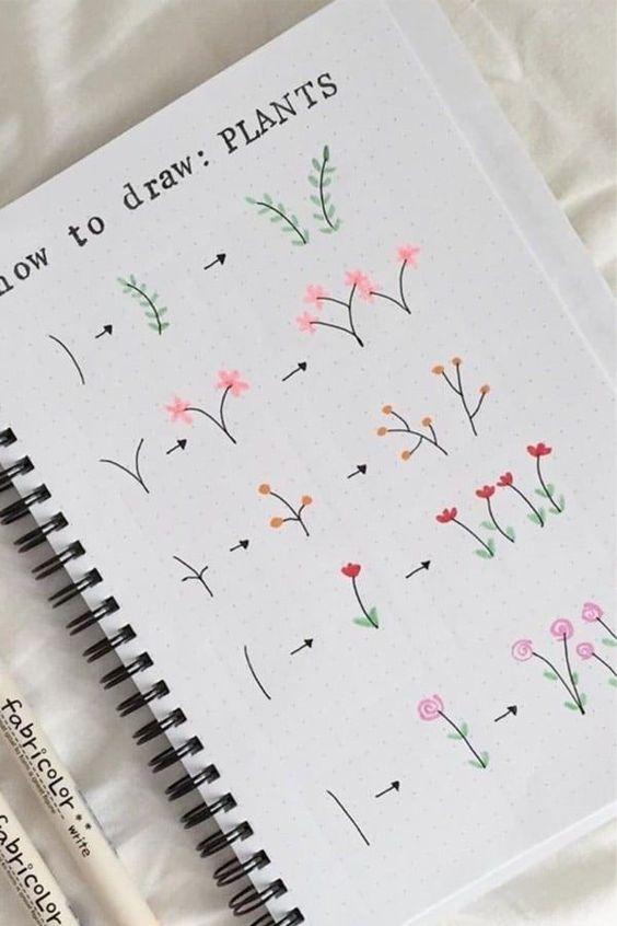 Красивые рисунки цветов для срисовки в свой дневник - 40 лучших идей (1)