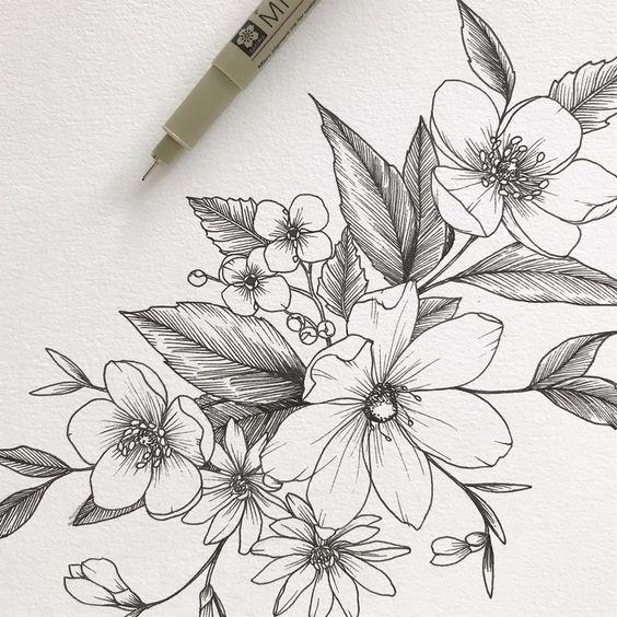 Красивые рисунки цветов для срисовки в свой дневник - 40 лучших идей (12)