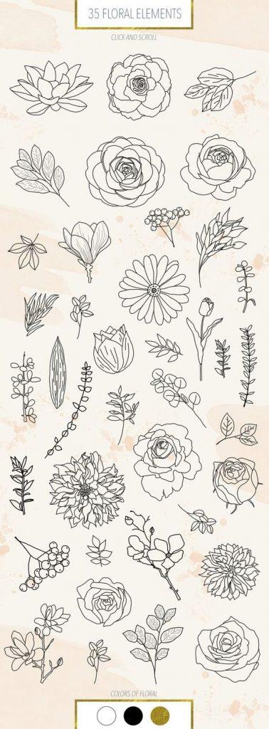 Красивые рисунки цветов для срисовки в свой дневник - 40 лучших идей (36)