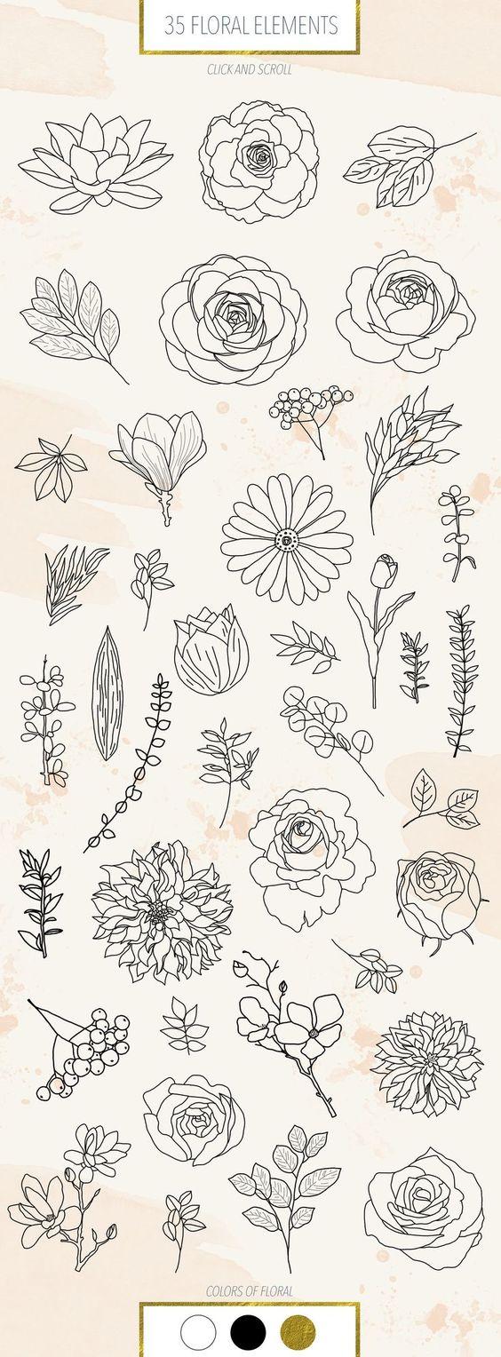 Красивые рисунки цветов для срисовки в свой дневник   40 лучших идей (36)
