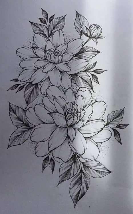 Красивые рисунки цветов для срисовки в свой дневник - 40 лучших идей (37)