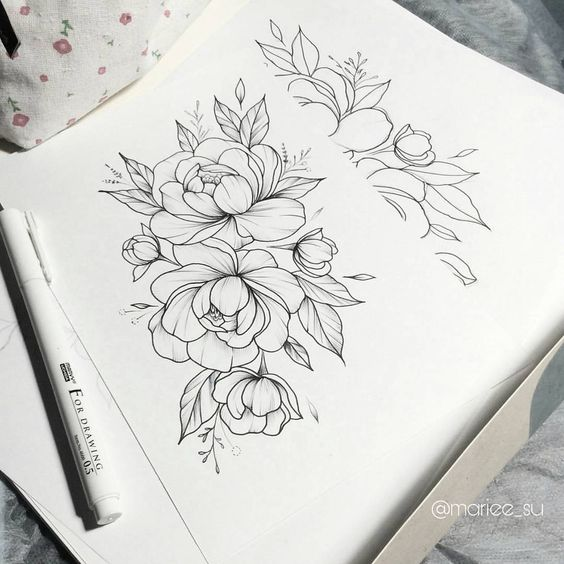 Красивые рисунки цветов для срисовки в свой дневник - 40 лучших идей (40)