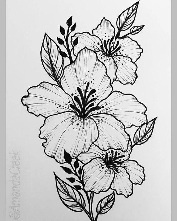 Красивые рисунки цветов для срисовки в свой дневник - 40 лучших идей (6)