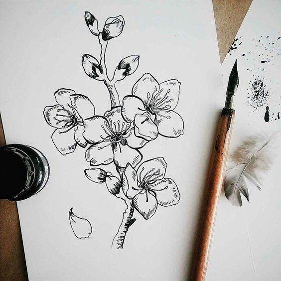 Красивые рисунки цветов для срисовки в свой дневник - 40 лучших идей (7)
