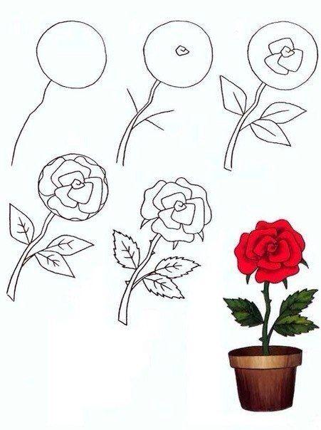 Красивые рисунки цветов для срисовки в свой дневник - 40 лучших идей (8)
